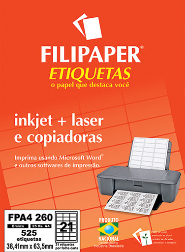 FP A4260 Filipaper Etiqueta 38,1x63,5 mm - 21 etiquetas por folha A4 25 fls - FP04457