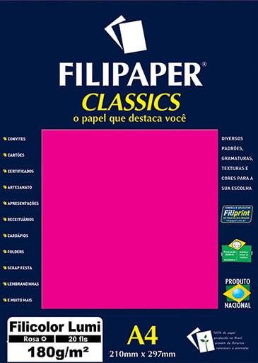 Filipaper Filicolor LUMI 180g/m² (20 folhas; Rosa) A4 - FP00906