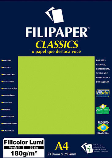 Filipaper Filicolor LUMI 180g/m² (20 folhas; verde) A4 - FP00907
