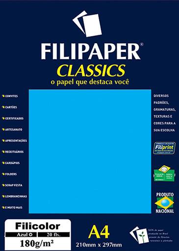 Filipaper Filicolor 180g/m² (20 folhas; azul) A4 - FRETE GRÁTIS - FP00913
