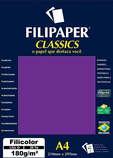 Filipaper Filicolor 180g/m² (20 folhas; lilás) A4 - FP00914