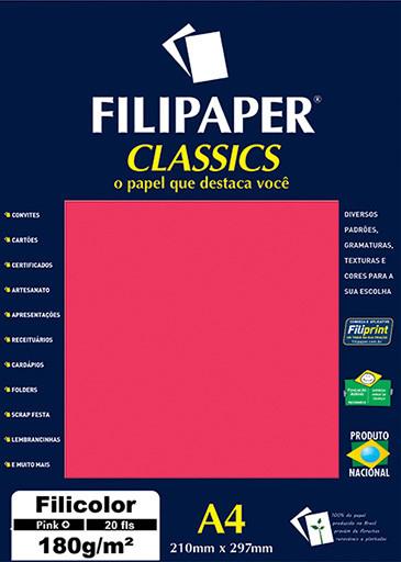 Filipaper Filicolor 180g/m² (20 folhas; pink) A4 - FP00917