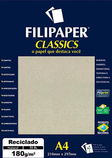 Filipaper Reciclado 180g/m² (50 Folhas, Natural) A4 - FP00940