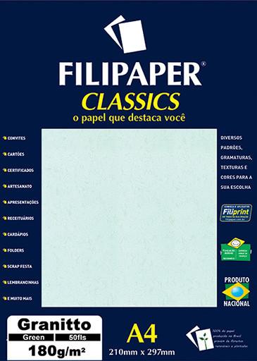 Filipaper Granitto 180g/m² (50 folhas; verde) A4 - FRETE GRÁTIS - FP00965
