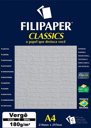Filipaper Vergê 180g/m² (50 folhas; cinza) A4 - FP00979
