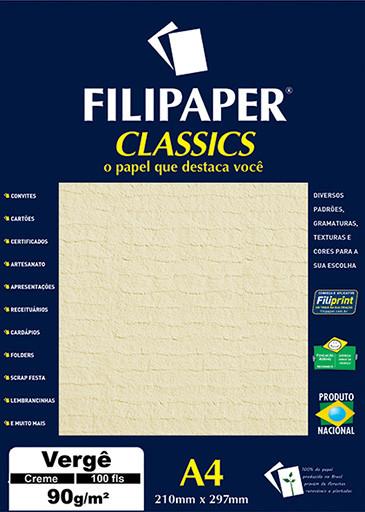 Filipaper Vergê 90g/m² (100 folhas; creme) A4 - FP00980