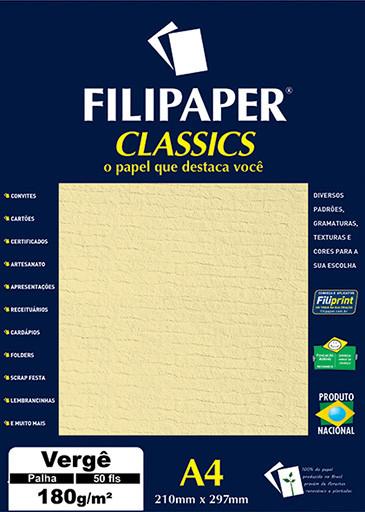 Filipaper Vergê 180g/m² (50 folhas; palha) A4 - FP00983
