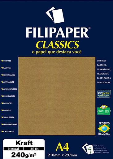 Filipaper Kraft 240g/m² (25 folhas; Natural) A4 - FP00990