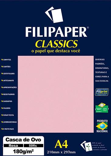 Filipaper Casca de Ovo 180g/m² (50 folhas; Rosa) A4 - FRETE GRÁTIS - FP00991