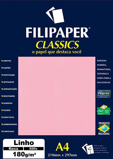 Filipaper Linho 180g/m² (50 folhas; rosa) A4 - FP00992