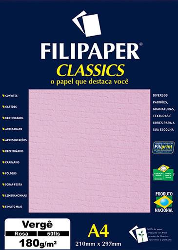 Filipaper Vergê 180g/m² (50 folhas;Rosa) A4 - FP00994