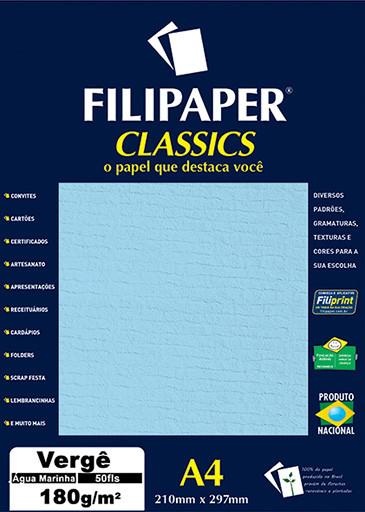Filipaper Vergê 180g/m² (50 folhas; Água Marinha) A4 - FP00995