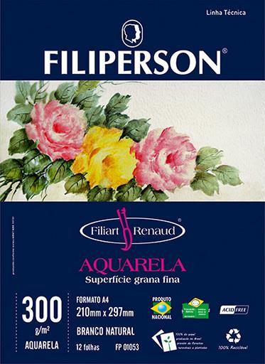 Filiart Renaud Aquarela 300g/m² (12 folhas; branco) A4 - FP01099