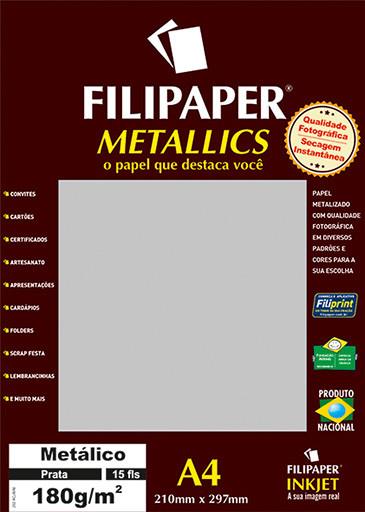 Filipaper METALLICS Prata 180g/m² A4(15fls) - FRETE GRÁTIS - FP01101