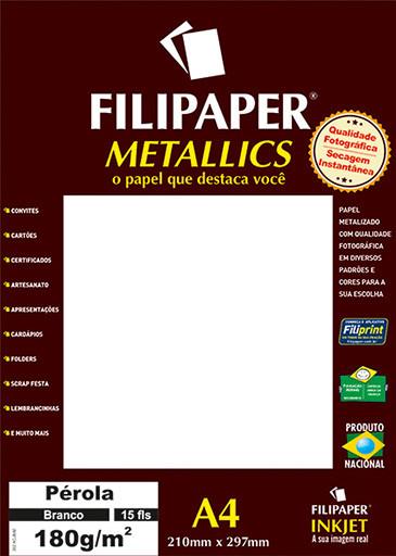 Filipaper METALLICS Pérola Branco 180g/m² A4(15fls) - FP01103