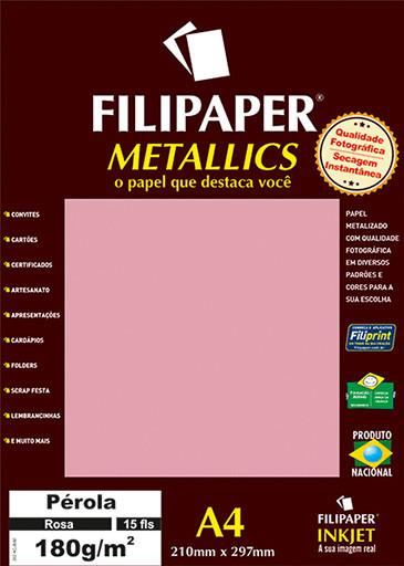 Filipaper METALLICS Perola Rosa 180g/m² A4(15fls) - FRETE GRÁTIS - FP01104