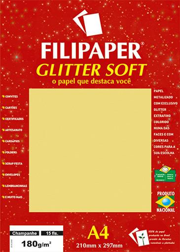 Filipaper GLITTER SOFT 180g/m² (15 folhas; Champanhe) A4 - FP01301
