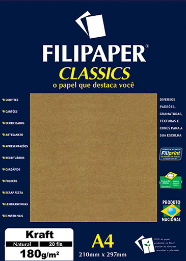 Filipaper Kraft 180g/m² (20 folhas; Natural) A4 - FP01507