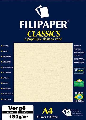 Filipaper Vergê 180g/m² (20 folhas; palha) A4 - FP01872