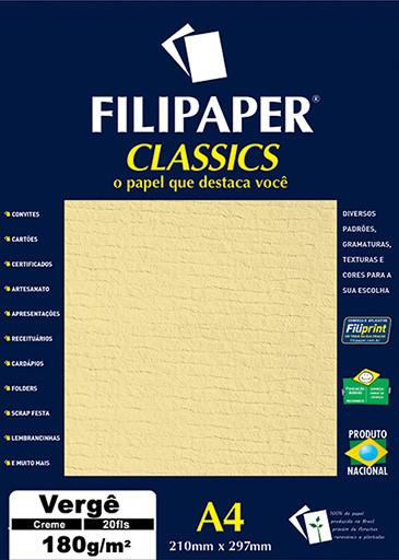 Filipaper Vergê 180g/m² (20 folhas; creme) A4 - FP01874