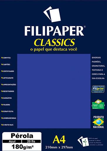 Filipaper CLASSICS PÉROLA AZUL 180g/m² A4 20fls - FRETE GRÁTIS - FP01881