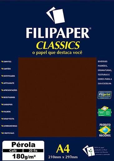 Filipaper CLASSICS PÉROLA CAFÉ 180g/m² A4 20fls - FP01883