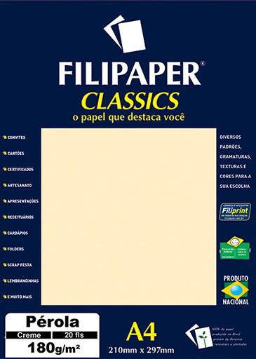 Filipaper CLASSICS PÉROLA CREME 180g/m² A4 20fls - FP01884