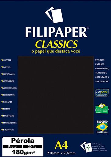 Filipaper CLASSICS PÉROLA PRETO 180g/m² A4 20fls - FRETE GRÁTIS - FP01886