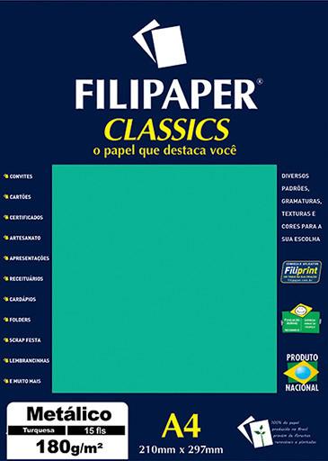 Filipaper CLASSICS METALICO Turquesa 180g/m² A4 15fls - FP01892