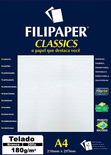 Filipaper Telado 180g/m² (20 folhas; branco) A4 - FP01966