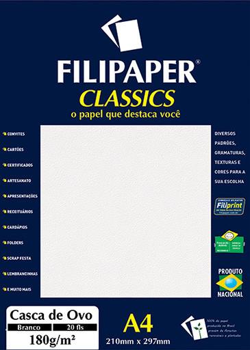 Filipaper Casca de Ovo 180g/m² (20 folhas; branco) A4 - FP01990