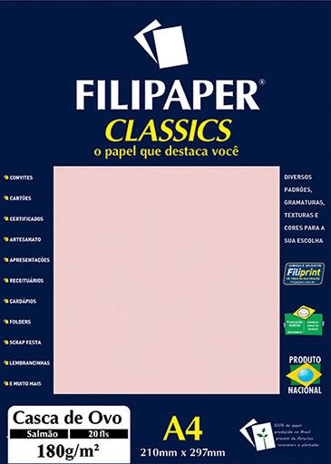 Filipaper Casca de Ovo 180g/m² (20 folhas; salmão) A4 - FRETE GRÁTIS - FP01998