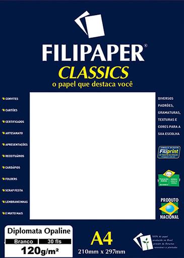 Filipaper Diplomata Opaline 120g/m² (30 folhas; branco) A4 - FP02061