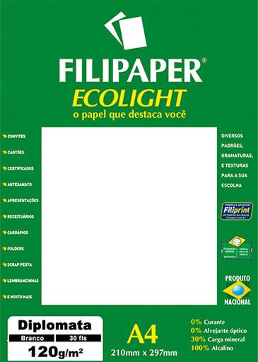 Filipaper ECOLIGHT Diplomata Opaline 120g/m² (30 folhas; branco) A4 FP02077