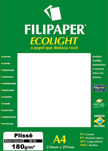 Filipaper ECOLIGHT Plissê 180g/m² (20 folhas; branco natural) A4 FP02082