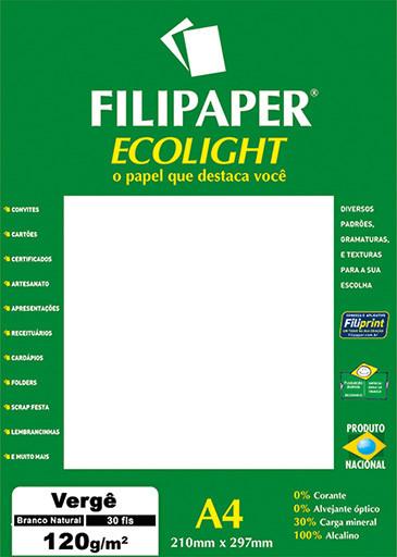 Filipaper ECOLIGHT Vergê 120g/m² (30 folhas; branco natural) A4 FP02084