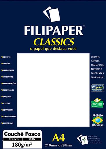 Filipaper Couchê Fosco 180g/m² (50 folhas; branco) A4 - FP02213