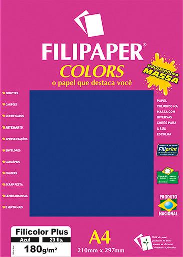 Filipaper COLORS Azul 180g/m² A4 20fls - FRETE GRÁTIS - FP02389