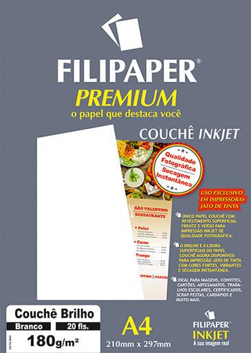 Filipaper Couchê Premium 180g/m² (20 folhas; branco) A4 - FP02504