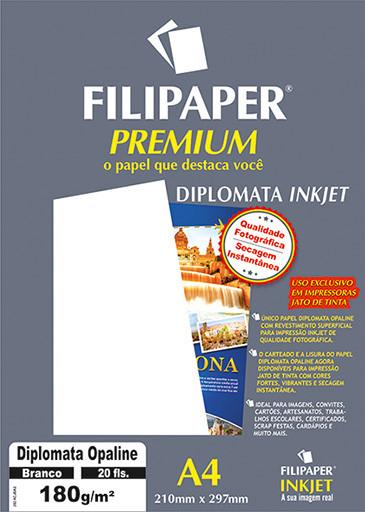 Filipaper Diplomata Premium 180g/m² (20 folhas; branco) A4 - FRETE GRÁTIS - FP02505
