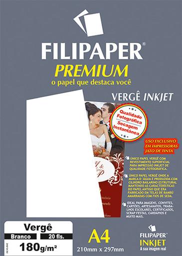 Filipaper Vergê Premium 180g/m² (20 folhas; branco) A4 - FP02507
