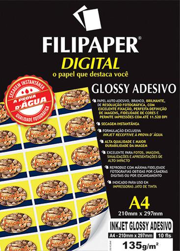 Filipaper InkJet Glossy Adesivo 135g/m² (10 folhas; branco) A4 - FP02554
