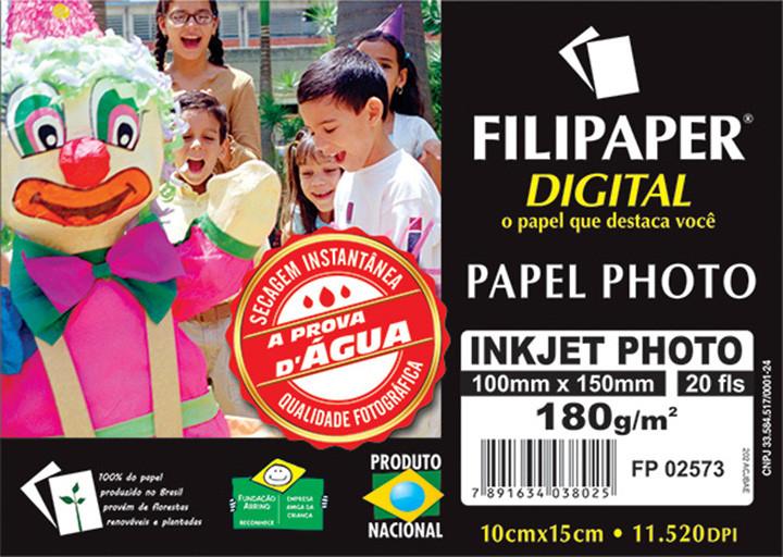 Filipaper InkJet Photo 180g/m² (20 folhas; branco) 10x15cm - FP02573