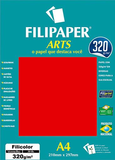 FIlipaper ARTS 320 g/m² (30 folhas; Vermelho) A4 - FRETE GRÁTIS - FP02591