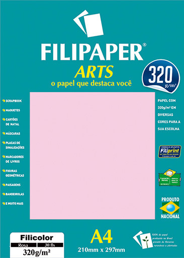 FIlipaper ARTS 320 g/m² (30 folhas; Rosa) A4 - FRETE GRÁTIS - FP02595