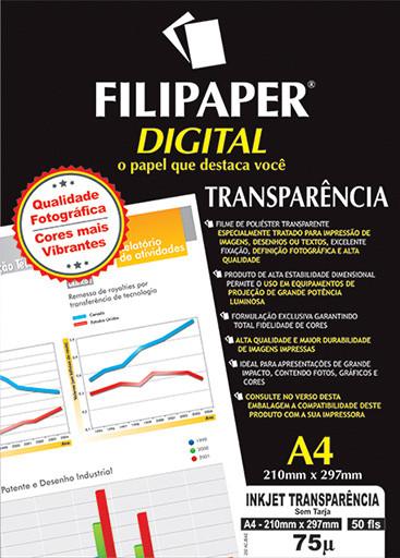 Filipaper Inkjet Transparência S/T 75 micras A4 50 fls. - FP02599