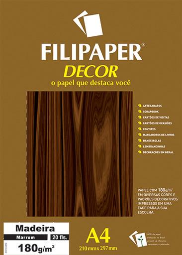 Filipaper DECOR Madeira Marrom - 180g/m² A4 (21cm x 29,7cm) - 20fls - FP02623