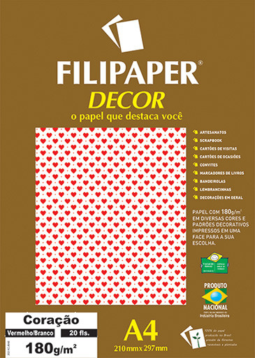 Filipaper DECOR Coração Vermelho Branco - 180g/m² A4 (20fls) - FP02657