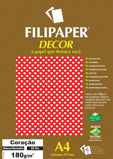 Filipaper DECOR Coração Branco Vermelho - 180g/m² A4 (20fls) - FP02665