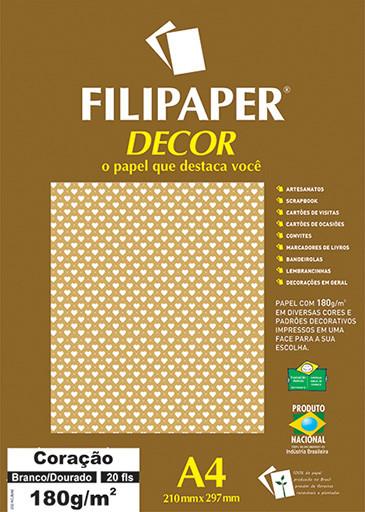 Filipaper DECOR Coração Branco Dourado - 180g/m² A4 (20fls) - FP02666